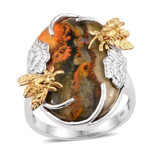 Bumble Bee Jasper (Ovl) Ring in Platinum and Yellow Gold Overlay Sterling Silver 20.000 Ct.