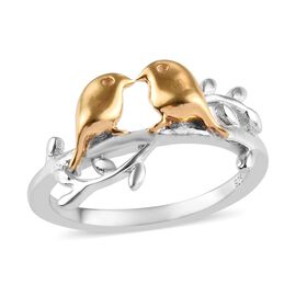 Platinum and Yellow Gold Overlay Sterling Silver Bird Couple Ring