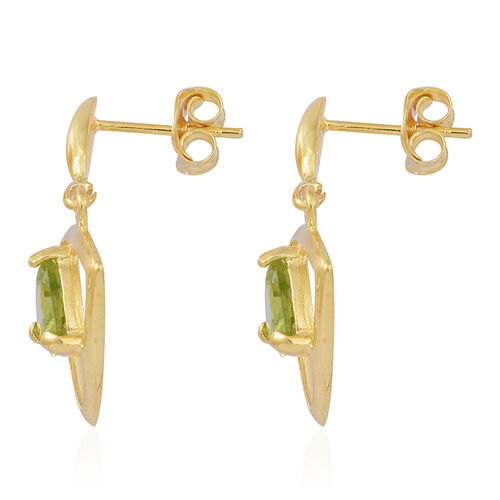 Hebei Peridot (Trl) Earrings (with Push Back) in 14K Gold Overlay Sterling Silver 2.000 Ct.