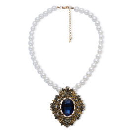 Blue Glass, Grey Austrian Crystal and White Glass Pearl Necklace (Size 18) in Gold Tone with Stainless Steel