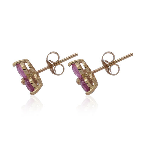 9K Y Gold Pink Sapphire (Rnd) Stud Earrings (with Push Back) 1.750 Ct.