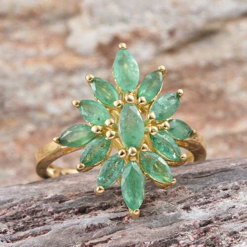 Kagem Zambian Emerald (Mrq) Floral Ring in 14K Gold Overlay Sterling Silver 1.850 Ct.