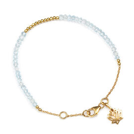 (Option 1) Sky Blue Topaz (Rnd) Lotus Charm Bracelet (Size 7.5 with 1/2 inch Extender) in Yellow Gold Overlay Sterling Silver 15.000 Ct.