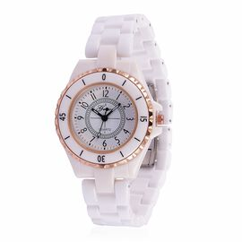GENOA Japanese Movement White Dial Water Resistant Watch in Rose Gold Tone with Stainless Steel Back and White Ceramic Strap