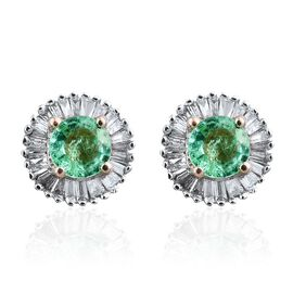 9K Yellow Gold 1 Carat Boyaca Colombian Emerald and Diamond (I3/G-H) Halo Stud Earring (with Push Back)