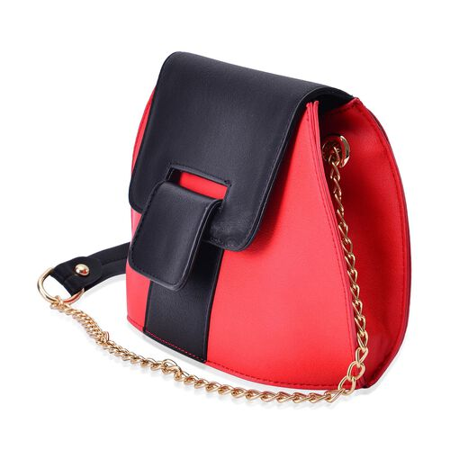 Sofia Lipstick Red and Black Colour Block Crossbody Bag with Chain Strap (Size 20x15x10 Cm)