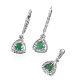 Kagem Zambian Emerald (Trl), Diamond Pendant and Lever Back Earrings in Platinum Overlay Sterling Silver 0.650 Ct.