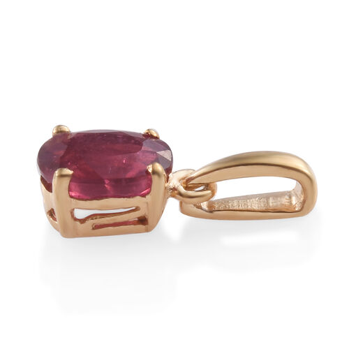 African Ruby 1 Carat Oval Silver Solitaire Pendant in Gold Overlay
