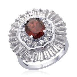 Mozambique Garnet (Ovl 1.75 Ct), White Topaz Ring in Platinum Overlay Sterling Silver 6.000 Ct.