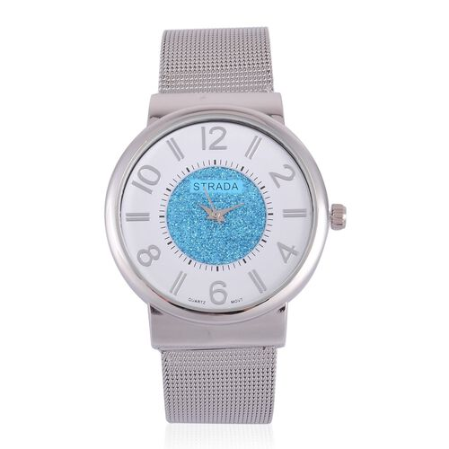STRADA Japanese Movement Sky Blue Stardust and White Dial Water Resistant Watch in Silver Tone with Stainless Steel Back and Chain Strap