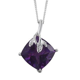 Amethyst (Cush 4.20 Ct), Natural Cambodian Zircon Pendant with Chain in Platinum Overlay Sterling Silver 4.250 Ct.