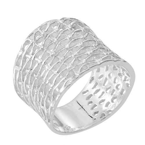 Thai Rhodium Plated Sterling Silver Weave Net Design Ring, Silver wt 5.00 Gms.