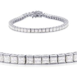 J Francis - Platinum Overlay Sterling Silver (Sqr) Bracelet (Size 8) Made with SWAROVSKI ZIRCONIA 10.080 Ct.