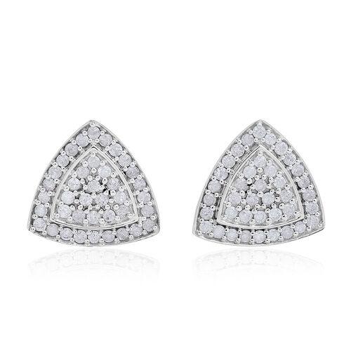 9K White Gold 1 Carat Diamond Trillion Cluster Stud Earrings, SGL Certified I3 G-H