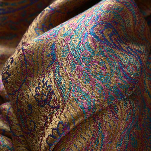 SILK MARK - 100% Superfine Silk Gold, Purple and Multi Colour Jacquard Jamawar Shawl with Fringes (Size 180x70 Cm) (Weight 125-140 Grams)