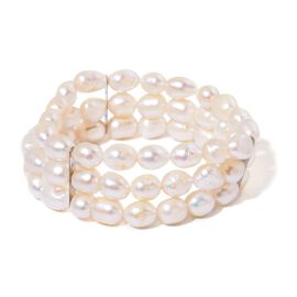 Fresh Water White Pearl (8-9mm) Stretchable Bracelet (Size 7.5) in Stainless Steel