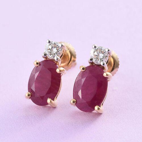 ILIANA 18K Yellow Gold 1.77 Ct. AAAA Pigeon Blood Burmese Ruby Diamond (SI/G-H) Stud Earrings (with Screw Back)