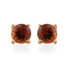 Madeira Citrine Round Solitaire Silver Stud Earrings in Platinum Overlay 0.500 Ct.