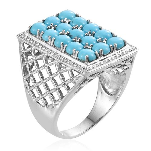 Arizona Sleeping Beauty Turquoise (Rnd) Ring in Platinum Overlay Sterling Silver 4.750 Ct.
