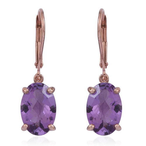 Rose De France Amethyst (Ovl) Lever Back Earrings in 14K Rose Gold Overlay Sterling Silver 5.000 Ct.