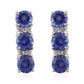 9K W Gold AA Tanzanite (Rnd), Diamond (I3/G-H) Earrings (with Push Back) 2.500 Ct.