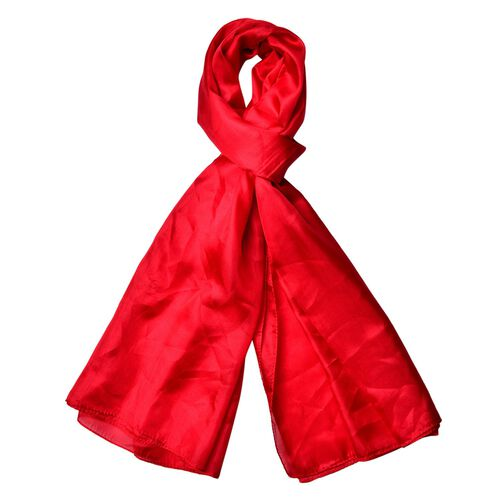 100% Mulberry Silk Red Colour Scarf (Size 170x110 Cm)