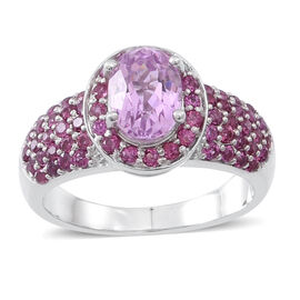 AAA Urucum Kunzite (Ovl 1.75 Ct), Rhodolite Garnet Ring in Rhodium Plated Sterling Silver 3.110 Ct.