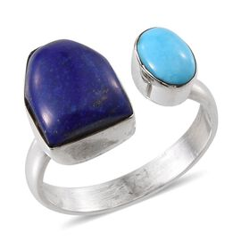Tribal Collection of India Lapis Lazuli and Arizona Sleeping Beauty Turquoise Ring in Sterling Silver 5.190 Ct.