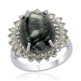 Siberian Seraphinite (Ovl 7.00 Ct) Green Sapphire Ring in Platinum Overlay Sterling Silver  8.500 Ct.