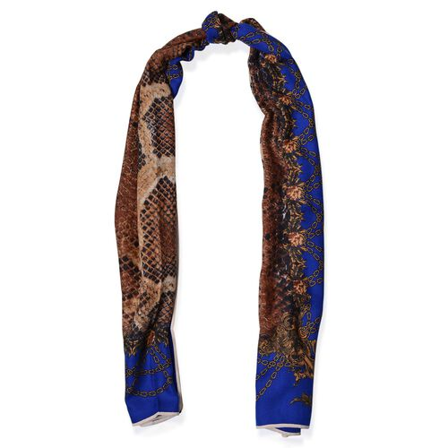 Chocolate Colour Snake Skin and Chain Pattern Blue Colour Scarf (Size 180x75 Cm)