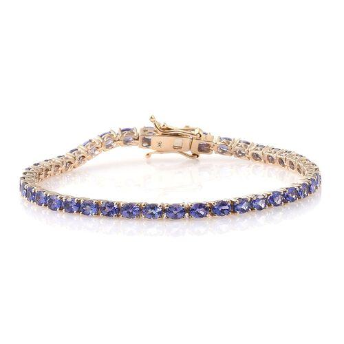 9K Yellow Gold 7.50 Ct. AA Tanzanite Tennis Bracelet (Size 7)