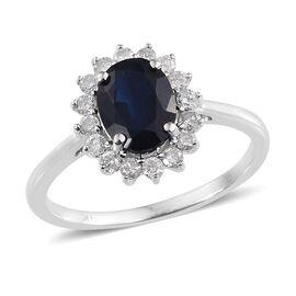 9K W Gold Kanchanaburi Blue Sapphire (Ovl 1.50 Ct), Diamond Ring 1.900 Ct.