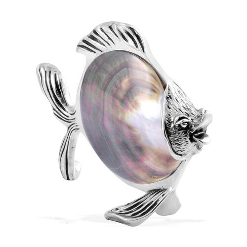 Very Rare Abalone Shell Fish in Silver Tone (640Gms Including stone & Metal).