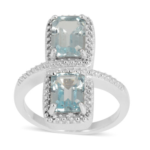 Sky Blue Topaz (Oct) Crossover Ring in Rhodium Plated Sterling Silver 4.000 Ct.