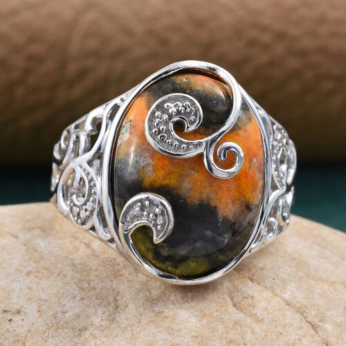 Bumble Bee Jasper (Ovl), Diamond Ring in Platinum Overlay Sterling Silver 9.250 Ct.