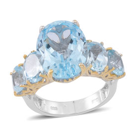 AAA Rare Size Sky Blue Topaz (Ovl 11.20 Ct) 5 Stone Ring in Rhodium Plated Sterling Silver 16.000 Ct.
