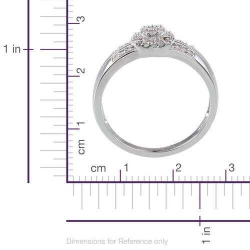 Diamond (Rnd) Ring in Platinum Overlay Sterling Silver 0.300 Ct.