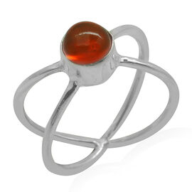Royal Bali Collection Orange Ethiopian Opal (Rnd) Solitaire Ring in Sterling Silver 0.870 Ct.