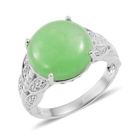 Chinese Green Jade (Rnd) Ring in Platinum Overlay Sterling Silver 12.750 Ct.