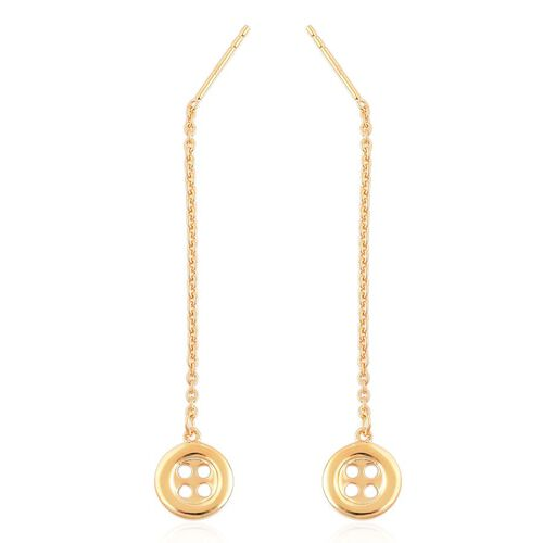 LucyQ Button Drop Earrings in Yellow Gold Overlay Sterling Silver
