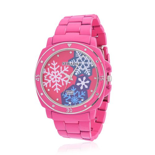 STRADA Japanese Movement White Austrian Crystal Studded Pink Snowflake Dial Water Resistant Watch in Silver Tone with Stainless Steel Back and Pink Strap
