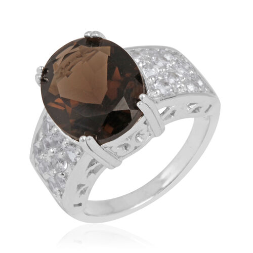 Brazilian Smoky Quartz (Ovl 4.35 Ct), White Topaz Ring in Sterling Silver 5.150 Ct.