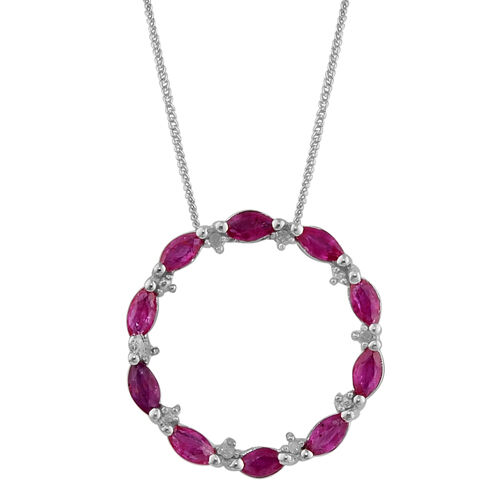 Burmese Ruby (1.45 Ct) and Diamond Platinum Overlay Sterling Silver Pendant With Chain  1.500  Ct.