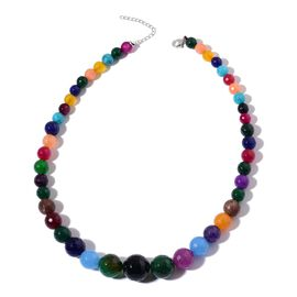 Multi Colour Agate Necklace (Size 18 with 2 inch Extender) in Rhodium Plated Sterling Silver 370.000 Ct.