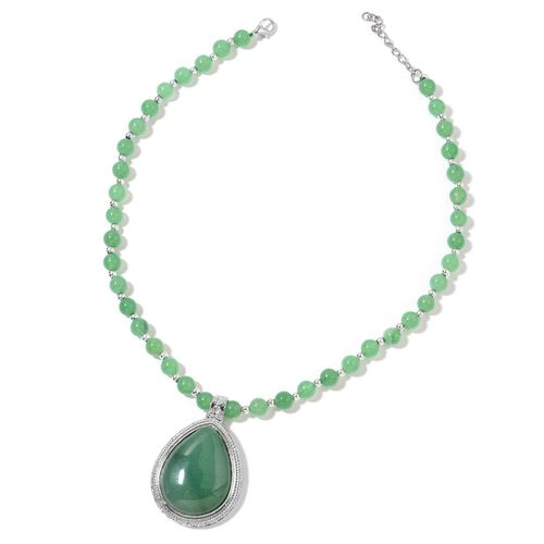 Green Aventurine Necklace (Size 18 with 2 inch Extender) in Silver Tone 232.500 Ct.