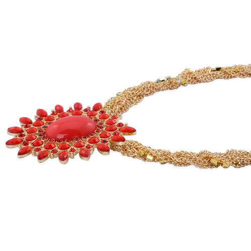 Red and White Austrian Crystal and Simulated Red Stone Necklace (Size 20 with 3 inch Extender) in Gold Tone