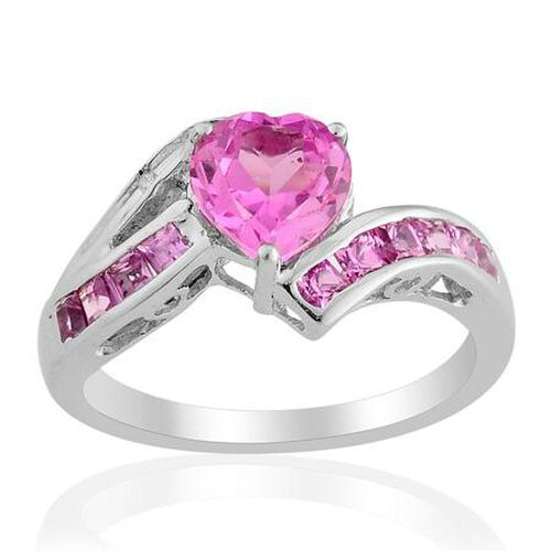 ELANZA Created Pink Sapphire Simulated Diamond Platinum Overlay Sterling Silver Ring  2.100  Ct.