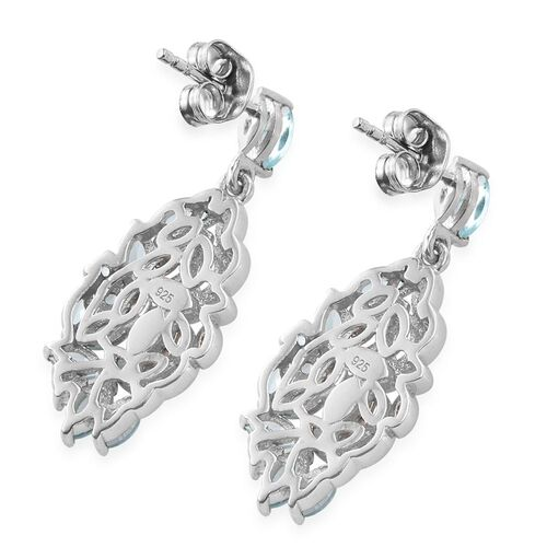 Paraiba Apatite (Mrq) Earrings (with Push Back) in Platinum Overlay Sterling Silver 2.250 Ct.