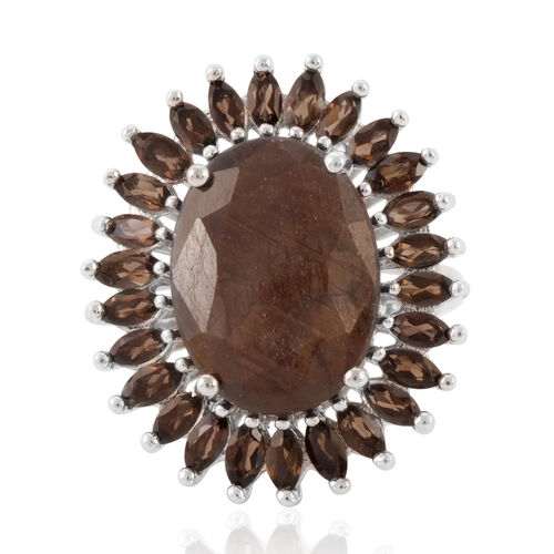 Chocolate Sapphire (Ovl 10.80 Ct), Brazilian Smoky Quartz Ring in Rhodium Plated Sterling Silver 13.000 Ct.