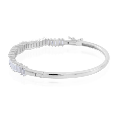 Signature Collection ELANZA AAA Simulated White Diamond (Bgt) Bangle (Size 7) in Rhodium Plated Sterling Silver